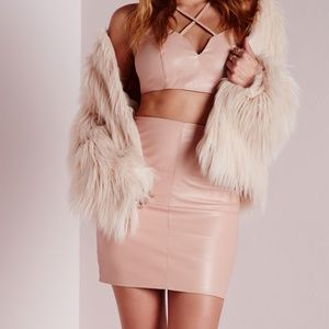 Missguided Faux Leather Mini Skirt Nude NWT